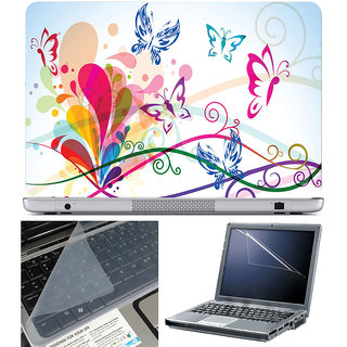 Finearts Laptop Skin 15.6 Inch With Key Guard & Screen Protector - Butterfly Abstract