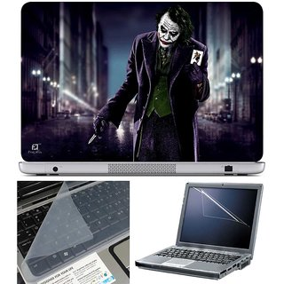 Finearts Laptop Skin Joker Showing Card With Screen Guard And Key Protector - Size 15.6 Inch