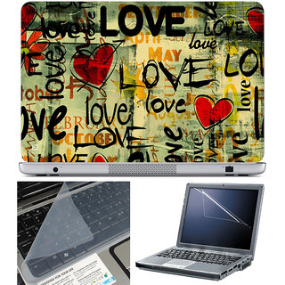 Finearts Laptop Skin 15.6 Inch With Key Guard & Screen Protector - Love Month Yellow