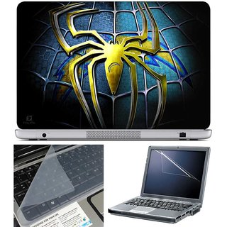 Finearts Laptop Skin Yellow Spider Logo With Screen Guard And Key Protector   Size 15.6 Inch