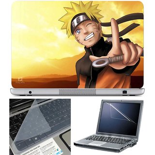 Finearts Laptop Skin Naruto Finger With Screen Guard And Key Protector - Size 15.6 Inch