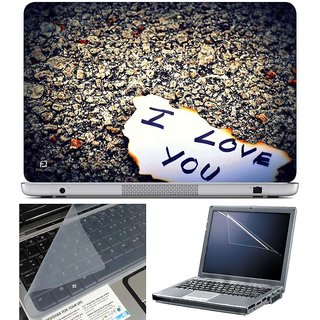 Finearts Laptop Skin - I Love You On Paper With Screen Guard And Key Protector - Size 15.6 Inch