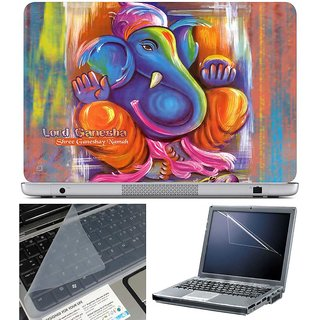 Finearts Laptop Skin - Lord Ganesha With Screen Guard And Key Protector - Size 15.6 Inch