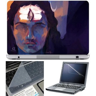 Finearts Laptop Skin Lord Shiva Painting With Screen Guard And Key Protector - Size 15.6 Inch