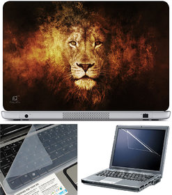 Finearts Laptop Skin 15.6 Inch With Key Guard & Screen Protector - Lion Face Effect