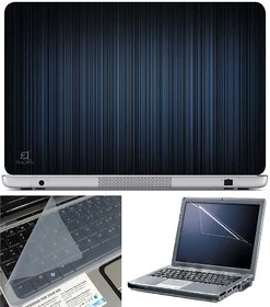 Finearts Laptop Skin Vertical Blue Lines With Screen Guard And Key Protector - Size 15.6 Inch