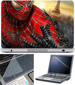 Finearts Laptop Skin 15.6 Inch With Key Guard & Screen Protector - Spiderman Turning Black
