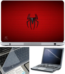 Finearts Laptop Skin 15.6 Inch With Key Guard & Screen Protector - Spider Red Texture