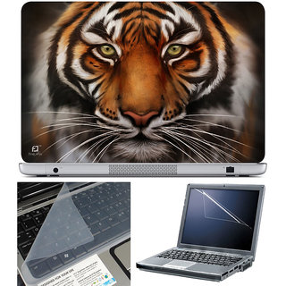 Finearts Laptop Skin 15.6 Inch With Key Guard & Screen Protector - Black Tiger