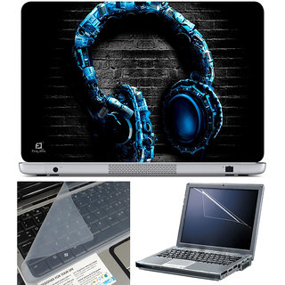 Finearts Laptop Skin 15.6 Inch With Key Guard & Screen Protector - Blue Headphone
