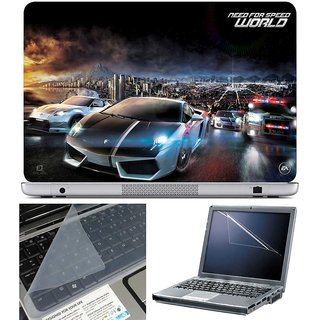 Finearts Laptop Skin - Need For Speed With Screen Guard And Key Protector - Size 15.6 Inch