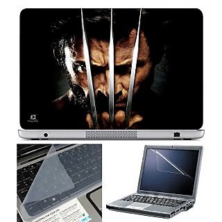 Finearts Laptop Skin - Wolvarine Face With Screen Guard And Key Protector - Size 15.6 Inch