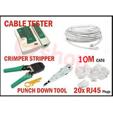 10 Meter CAT 6 Cable With Lan Tester Crimper ,20 Rj45 Plug Connector ,punch Down