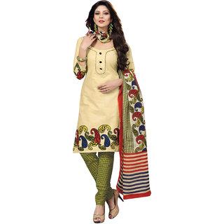 Drapes Beige Cotton Printed Salwar Suit Dress Material (Unstitched)