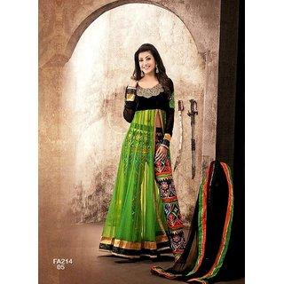 See Green And Black Designer Anarkali Suit