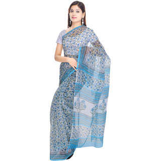Kalrav Fashion Printed Blue Kota Doria Cotton Saree