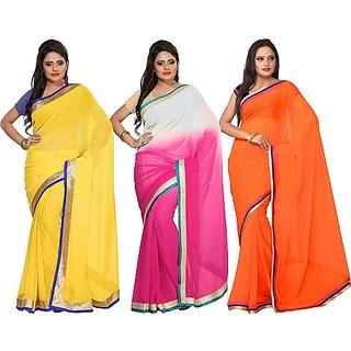 Florence Multi Color Combo Combo Of 3 Semi Chiffon Saree