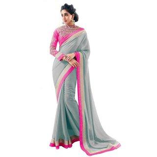 Bhuwal Fashion Gray Chiffon Plain Saree With Blouse