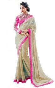 Bhuwal Fashion Beige Chiffon Lace Saree With Blouse