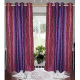 Art Pack Multi Color Small & Big Leaf Design Window Eyelet Curtains Purple
