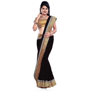 Bhuwal Fashion Beige Chiffon Plain Saree With Blouse