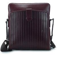 Leather Talks Maroon Leather Messenger Bag For Men