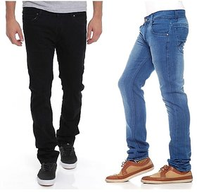 Stylox Men's Blue  Black Regular Fit Jeans (Pack of 2)