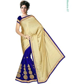 Mantra Exclusive Blue & Beigh Chiffon  Saree