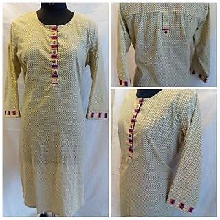 elegant cream color kurti with embroidary