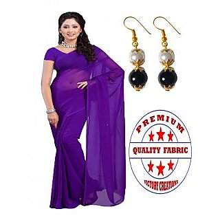 VICTORY PREMIUM QUALITY PURE GEORGETTE SAREE with PEARL HANGINGS (PURPLE)