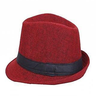 568f04968aa FabSeasons Mens Fedora Hat HM16red