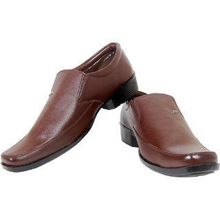 Exotique Brown Synthetic Leather Office Wear Slip-on Formal Shoes