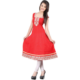 Lookslady Red Embroidered Cotton Stitched Kurti