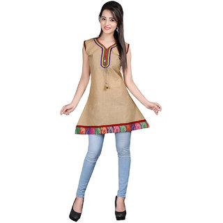 Lookslady Beige Embroidered Cotton Stitched Kurti