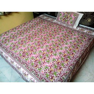 100% COTTON MULTICOLOUR  DOUBLE BED BEDSHEET WITH 2 PILLOW COVER