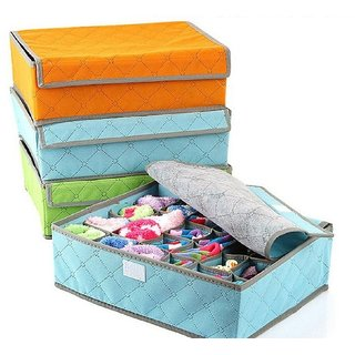 24 Compartment Foldable Storage Box type Non-Smell Drawer Organizer Closet Storage for Socks Bra Tie Scarfs - ORANGE Color)