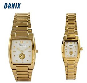 ORNIX PAIR-101 GOLD PLATED ANALOG WATCH FOR COUPLE
