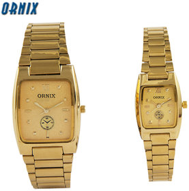 ORNIX PAIR-102 GOLD PLATED ANALOG WATCH FOR COUPLE