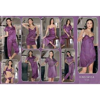 de44ad6a06 Night Wear Set 12pc Lingerie Tops Skirt Capri Nighty Gown Robe Babydoll  1412 Win