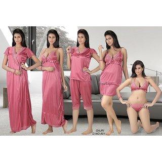 0df03f789f Night Wear Set 12pc Lingerie Tops Skirt Capri Nighty Gown Robe Babydoll 801  Pink