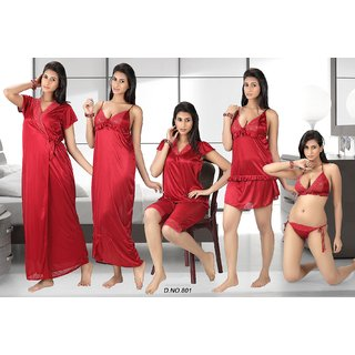 05bc1e1b6f Online Night Wear Set 12pc Lingerie Tops Skirt Capri Nighty Gown Robe  Babydoll 801 Red Prices - Shopclues India