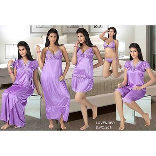 13af99acda Night Wear Set 12p Lingerie Tops Skirt Capri Nighty Gown Robe Babydoll 801  Purpl Prices in India- Shopclues- Online Shopping Store