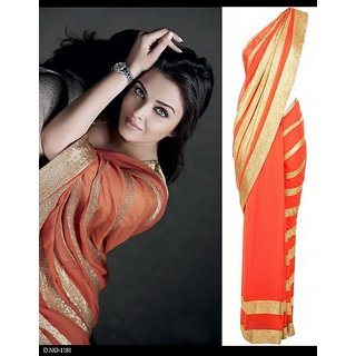 Bollywood Designer Sarees- Aishwarya Orange Saree