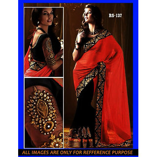 Bollywood HF Festival Wear Designer Orange Saree