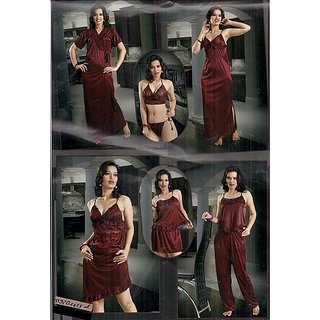 80586f5b01 Sexy 8pc Night Wear Bra Panty Top Pajama Skirt Babydoll Nighty   Over Coat  1435A In India - Shopclues Online