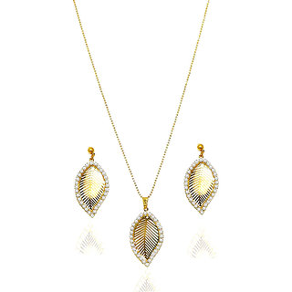Urthn Exclusive Golden Plated Diamond Pendant Sets - 1201404