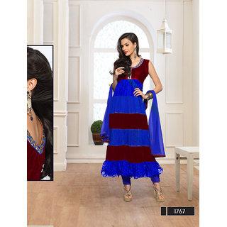 Fabliva Blue  Maroon Embroidered Net Anarkali Suit