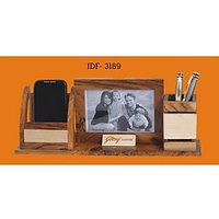 D-2 Personalized Laser Engraved Desktop Wooden Pen Stand With Photo Frame