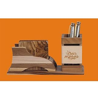 D-3 Personalized Laser Engraved Desktop Wooden Pen Stand With Cup Coaster