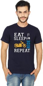 United Squares Round Neck Navy Blue Color Eat Sleep Ride Repeat